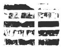Insieme della casella di testo rettangolare Macchie acriliche nere di vettore isolate su bianco Elementi strutturati disegnati a  Immagine Stock