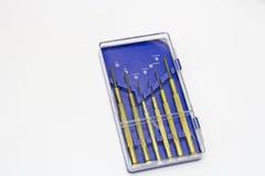 Insieme della cassetta portautensili del cacciavite della scatola blu Immagini Stock