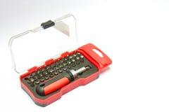 Insieme della cassetta portautensili del cacciavite della scatola rossa Fotografie Stock