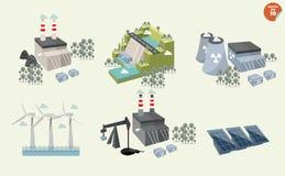 Insieme della centrale elettrica differente Fotografia Stock