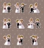 Insieme della cerimonia nuziale, degli autoadesivi della sposa e dello sposo illustrazione vettoriale