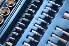 Insieme della chiave a bussola in scatola di plastica Immagine Stock