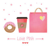 Insieme della ciambella della fragola con il succo della fragola e della borsa rosa nello stile dell'acquerello Fotografia Stock Libera da Diritti