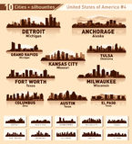 Insieme della città dell'orizzonte. 10 città degli S.U.A. #4 Fotografia Stock Libera da Diritti