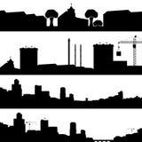 Insieme della città delle siluette Fotografia Stock