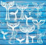 Insieme della coda delle balene su fondo blu di legno rustico Fotografia Stock