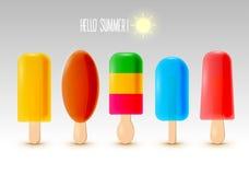 Insieme della composizione del ghiacciolo di estate Gelato della glassa nel colore e nel gusto differenti Illustrazione di vettor Immagini Stock Libere da Diritti