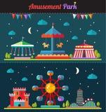 Insieme della composizione piana di progettazione con il parco di divertimenti Immagine Stock Libera da Diritti