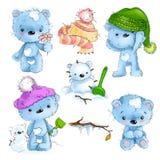 Insieme della condizione sveglia del carattere dell'orsacchiotto, seduta, giocante, illustrazione del fumetto isolata su fondo bi illustrazione di stock