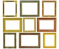 Insieme della cornice dell'oro dell'annata isolata immagini stock libere da diritti