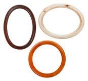 Insieme della cornice di legno rotonda isolata Fotografia Stock
