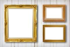 Insieme della cornice Galleria di arte della foto sull'annata di legno Immagini Stock Libere da Diritti