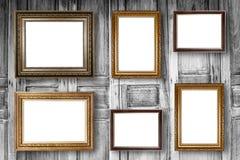 Insieme della cornice Galleria di arte della foto sull'annata di legno Immagine Stock