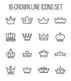 Insieme della corona nella linea stile sottile moderna Fotografie Stock