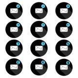 Insieme della corrispondenza delle icone nel cerchio con l'ombra, presentando immagine della busta e dei segni collegati Immagini Stock