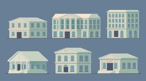 Insieme della costruzione di banca nella città Costruzione della Banca per servire il pubblico e per condurre le operazioni di cr illustrazione vettoriale