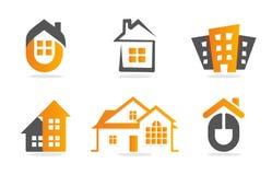 Insieme della costruzione di casa di logo Raccolta dell'icona del bene immobile Logotype arancio domestico Immagini Stock Libere da Diritti