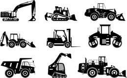 Insieme della costruzione pesante delle siluette e delle macchine d'estrazione su fondo bianco Illustrazione di vettore Fotografie Stock Libere da Diritti