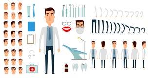 Insieme della creazione del carattere del dentista Fotografie Stock Libere da Diritti