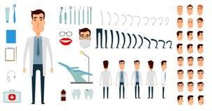 Insieme della creazione del carattere del dentista royalty illustrazione gratis