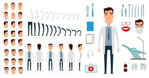 Insieme della creazione del carattere del dentista illustrazione di stock