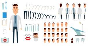 Insieme della creazione del carattere del dentista illustrazione vettoriale
