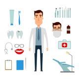 Insieme della creazione del carattere del dentista Immagini Stock Libere da Diritti