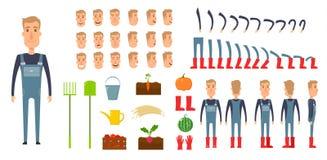Insieme della creazione del carattere dell'agricoltore Icone con differenti tipi di fronti, emozioni, vestiti Parte anteriore, la illustrazione di stock