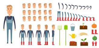 Insieme della creazione del carattere dell'agricoltore Icone con differenti tipi di fronti, emozioni, vestiti Parte anteriore, la illustrazione vettoriale