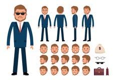 Insieme della creazione del carattere dell'uomo d'affari astuto Fotografia Stock Libera da Diritti
