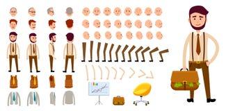 Insieme della creazione del carattere dell'uomo d'affari Progettazione del fumetto illustrazione vettoriale