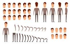 Insieme della creazione del carattere dell'uomo Icone con differenti tipi di fronti, emozioni, vestiti Parte anteriore, lato, pun illustrazione di stock