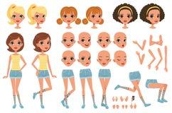 Insieme della creazione del carattere di Cirl, costruttore sveglio della ragazza con differenti pose, gesti, fronti, acconciature illustrazione di stock