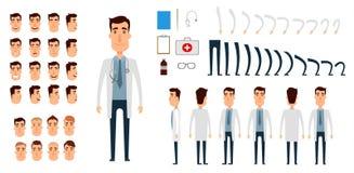 Insieme della creazione del carattere di medico Immagine Stock Libera da Diritti