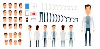 Insieme della creazione del carattere di medico Icone con differenti tipi di fronti, emozioni, vestiti Parte anteriore, lato, pun illustrazione di stock