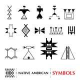 Insieme della decorazione americana antica Elementi tribali nello stile di contorno per progettazione indigena illustrazione vettoriale