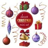 Insieme della decorazione di Natale Insieme degli oggetti decorativi di natale popolare Disegni brillantemente dipinti accurati d Immagini Stock