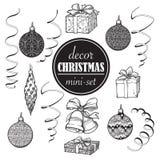 Insieme della decorazione di Natale Insieme degli oggetti decorativi di natale popolare Disegni brillantemente dipinti accurati d Immagini Stock Libere da Diritti