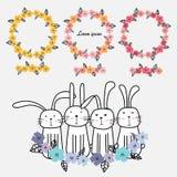 Insieme della decorazione floreale disegnata a mano della carta delle strutture e del coniglietto sveglio Fotografia Stock Libera da Diritti