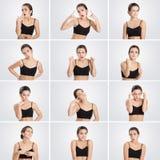Insieme della donna dei ritratti con differenti emozioni e gesti Immagine Stock