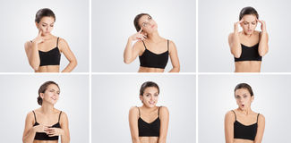 Insieme della donna dei ritratti con differenti emozioni e gesti Fotografia Stock Libera da Diritti