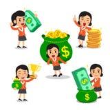 Insieme della donna di affari del fumetto con soldi Fotografia Stock Libera da Diritti