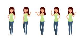 Insieme della donna, ragazza in abbigliamento casual nelle pose differenti illustrazione di stock
