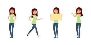 Insieme della donna, ragazza in abbigliamento casual nelle pose differenti Un carattere per il vostro progetto di progettazione I royalty illustrazione gratis