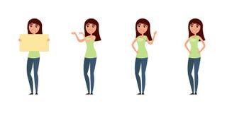 Insieme della donna, ragazza in abbigliamento casual nelle pose differenti Un carattere per il vostro progetto di progettazione I illustrazione di stock