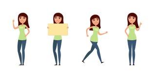 Insieme della donna, ragazza in abbigliamento casual nelle pose differenti Un carattere per il vostro progetto di progettazione I illustrazione vettoriale