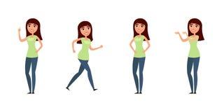 Insieme della donna, ragazza in abbigliamento casual nelle pose differenti Un carattere per il vostro progetto di progettazione I Fotografie Stock Libere da Diritti