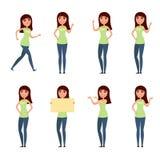 Insieme della donna, ragazza in abbigliamento casual nelle pose differenti Un carattere per il vostro progetto di progettazione I Immagini Stock