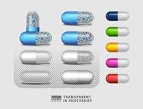 Insieme della droga della pillola su fondo trasparente Immagine Stock