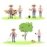 Insieme della famiglia degli agricoltori royalty illustrazione gratis